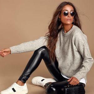 Lulu's Rock Music Black Leather High Rise Leggings